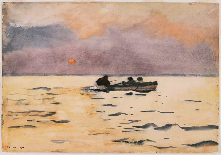 Winslow Homer, Rowing Home (1890), watercolour on paper, 13.75 x 19.88 cm, The Phillips Collection, Washington, DC. Wikimedia Commons.