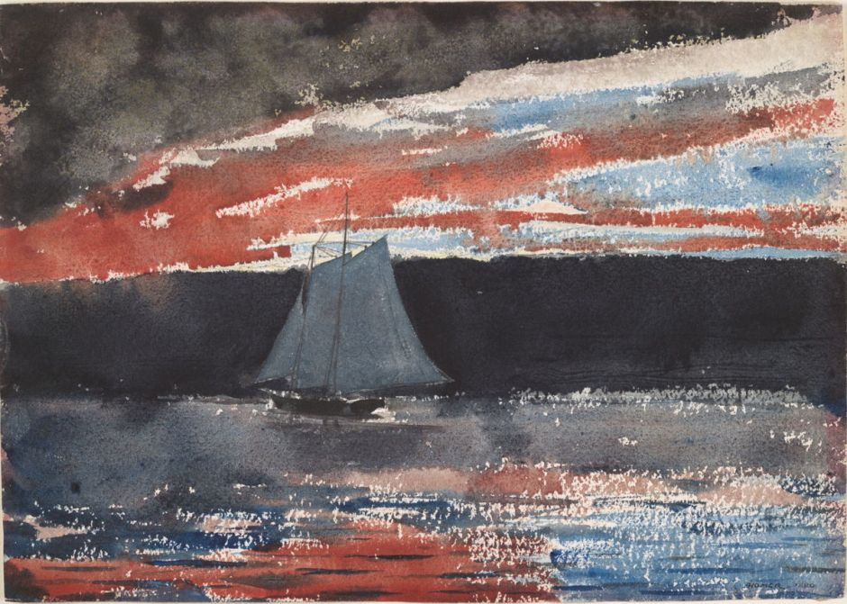 Winslow Homer, Schooner at Sunset (1880), watercolour and graphite on wove paper, 25 x 35 cm, Fogg Museum, Harvard, Cambridge, MA. Wikimedia Commons.