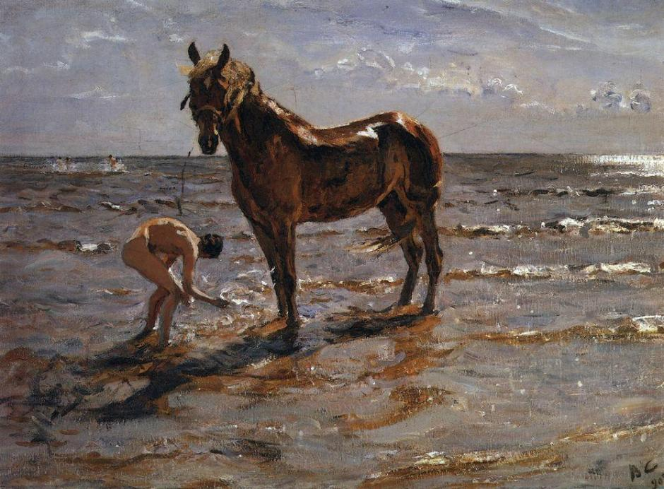 Valentin Alexandrovich Serov, Bathing of a Horse (1905), oil on canvas, 72 x 99 cm, State Russian Museum, Saint Petersburg. WikiArt.