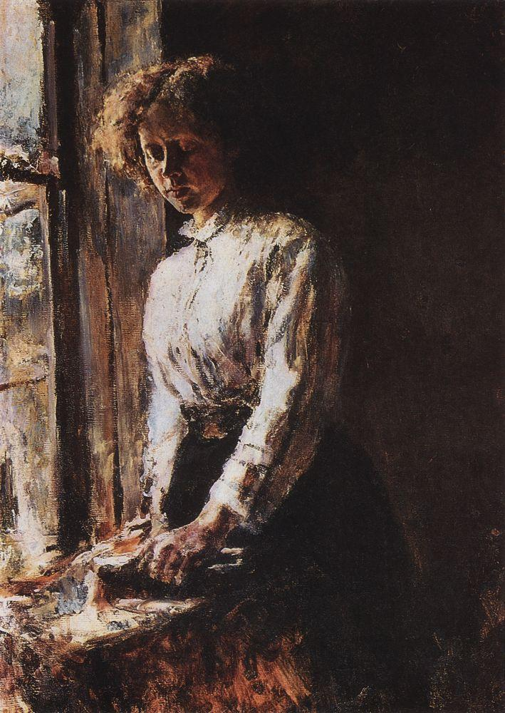 Valentin Alexandrovich Serov, By the Window. Portrait of Olga Trubnikova (1886), oil on canvas mounted on cardboard, 74.5 x 56.3 cm, Tretyakov Gallery, Moscow. WikiArt.