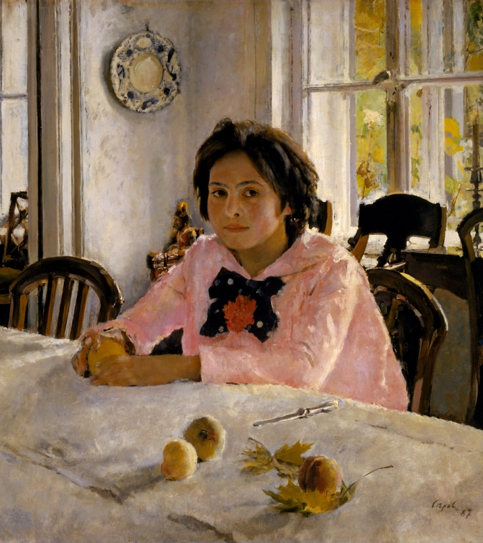Valentin Alexandrovich Serov, Girl with Peaches (1887), oil on canvas, 91 x 85 cm, Tretyakov Gallery, Moscow. WikiArt.