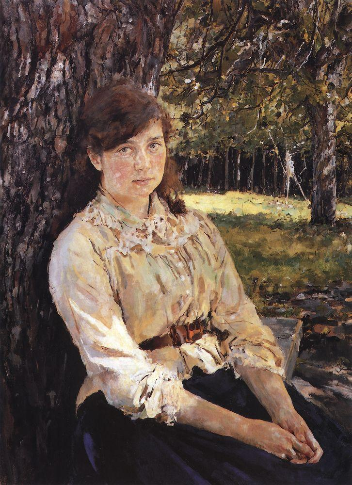 Valentin Alexandrovich Serov, Girl in the Sunlight (Portrait of M. Simonovich) (1888), oil on canvas, dimensions not known, Tretyakov Gallery, Moscow. WikiArt.