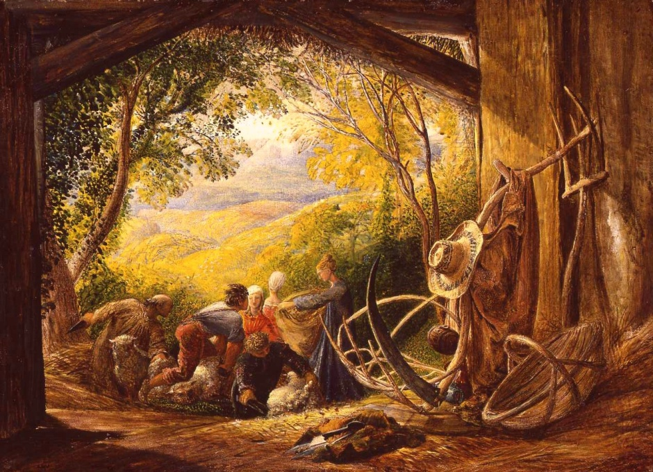 Samuel Palmer, The Shearers (c 1833-5), oil and tempera on wood, 51.4 x 71.7 cm, Private collection. WikiArt.