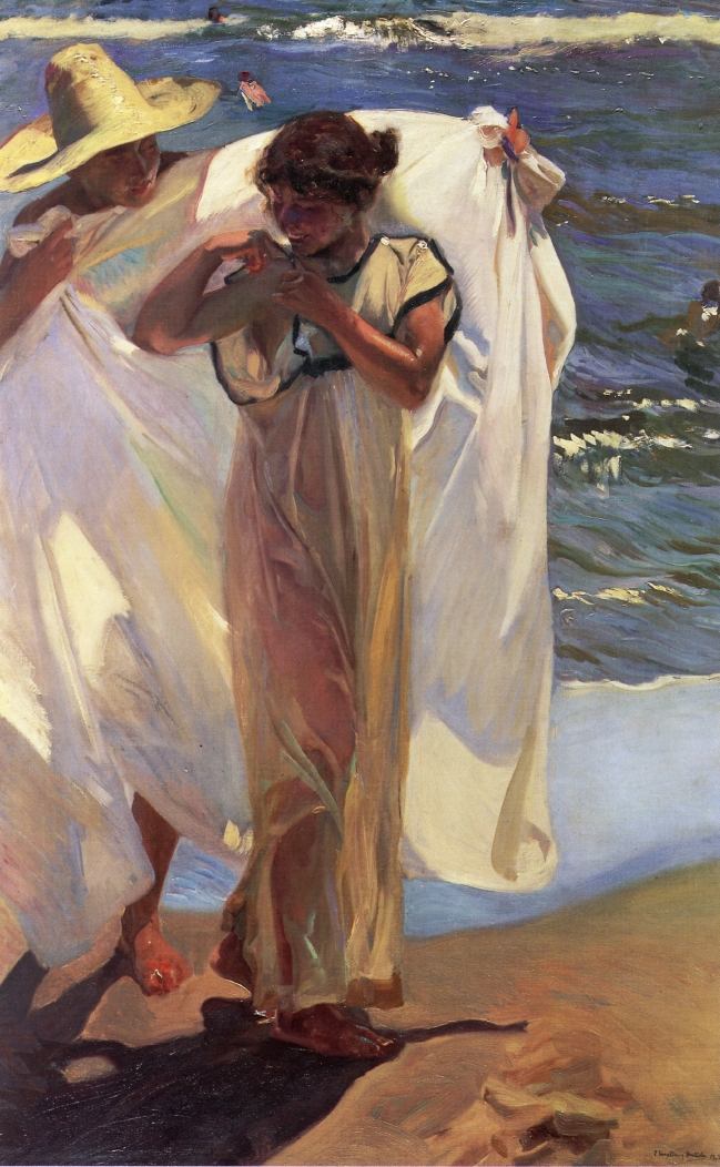 Joaquín Sorolla y Bastida, After the Bath (1908), oil on canvas, 176 x 111.5 cm, Hispanic Society of America, New York. WikiArt.