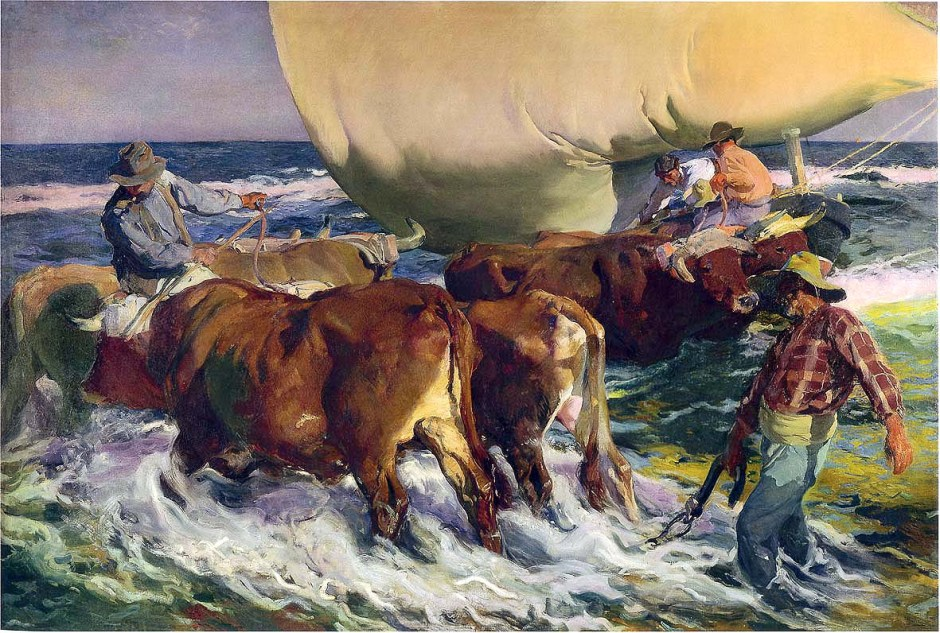 Joaquín Sorolla y Bastida, Afternoon Sun, Beaching the Boat (1903), oil on canvas, 299 x 441 cm, Hispanic Society of America, New York. WikiArt.