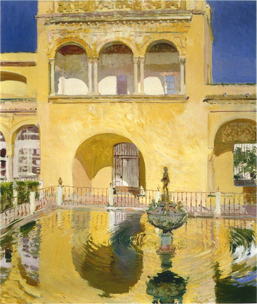 Joaquín Sorolla y Bastida, The Alcazat Seville (1908), oil on canvas, dimensions not known, location not known. WikiArt.