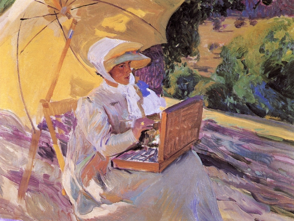 Joaquín Sorolla y Bastida, Maria Painting in El Pardo (1907), oil on canvas, 82 x 106 cm, Private collection. WikiArt.
