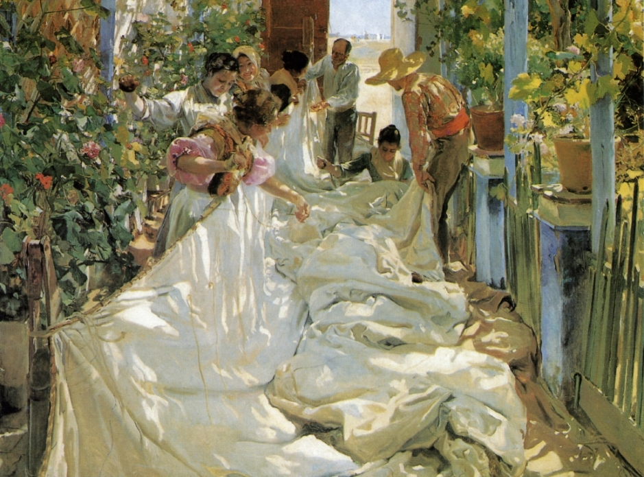 Joaquín Sorolla y Bastida, Sewing the Sail (1896), oil on canvas, 220 x 302 cm, Museo d`Arte Moderna di Ca`Pesaro, Venice. WikiArt.