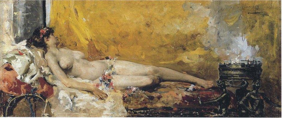Joaquín Sorolla y Bastida, Resting Bacchante (1887), oil on canvas, 29 x 67 cm, Museo de Bellas Artes de Valencia en su Historia, Valencia. WikiArt.