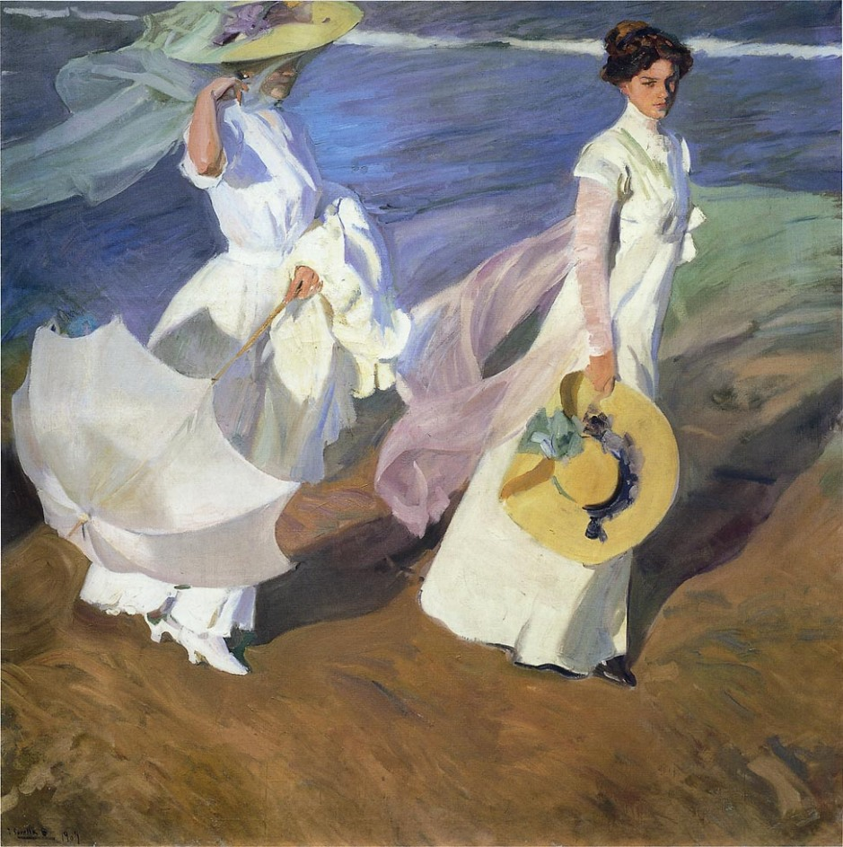Joaquín Sorolla y Bastida, Strolling along the Seashore (1909), oil on canvas, 200 x 205 cm, Museo Sorolla, Madrid. WikiArt.