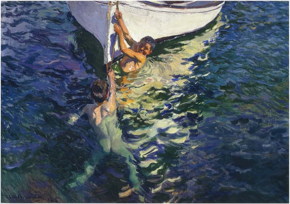 Joaquín Sorolla y Bastida, The White Boat, Jávea (1905), oil on canvas, 105 x 150 cm, Private collection. WikiArt.