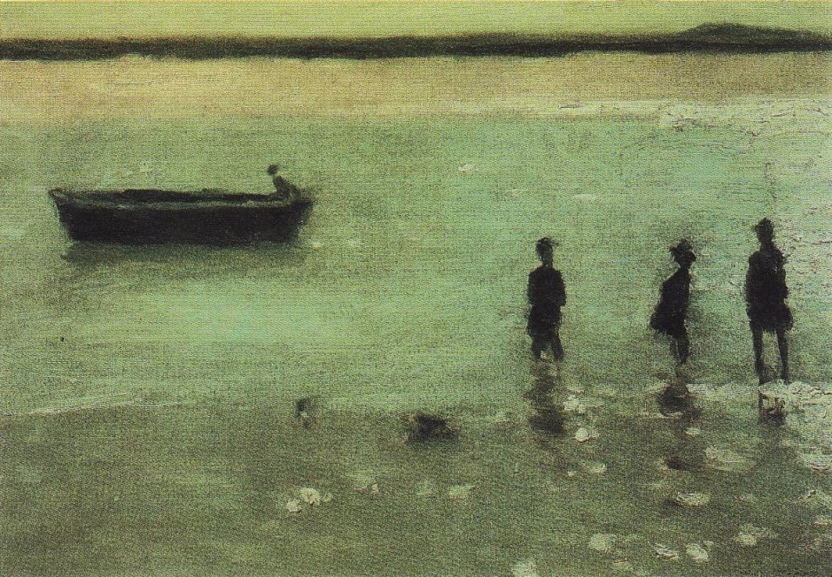 Philip Wilson Steer, Children Paddling, Étaples (1887), oil on canvas, 36.8 x 54.6 cm, Private collection. WikiArt.