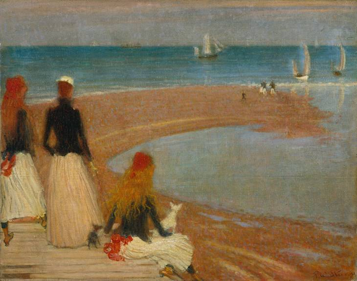 Philip Wilson Steer, The Beach at Walberswick (c 1889), oil on wood, 60.3 x 76.1 cm, The Tate Gallery, London. WikiArt.