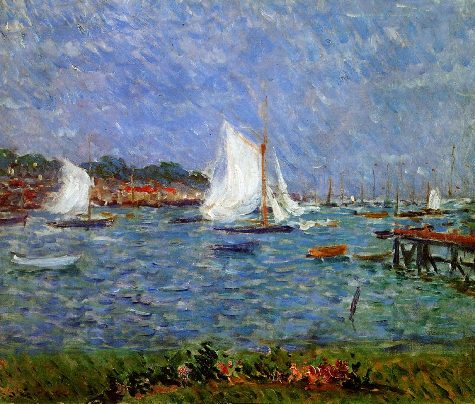 Philip Wilson Steer, Summer at Cowes (1888), oil on canvas, 50.9 x 61.2 cm, Manchester Art Gallery. WikiArt.