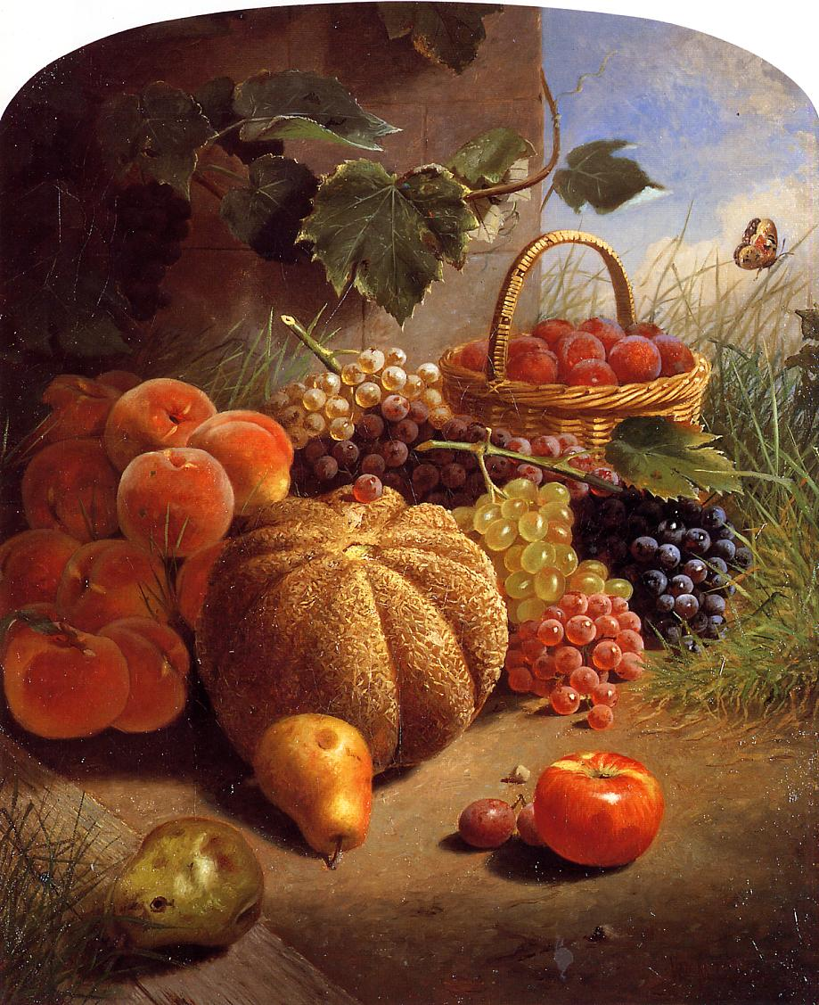 William Merritt Chase, Still Life with Fruit (1871), oil on canvas, 77.47 x 63.5 cm, Parrish Art Museum, Water Mill, NY. WikiArt.