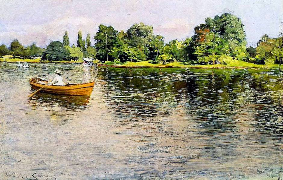 William Merritt Chase, Summertime (Pulling for Shore) (c 1886), oil on panel, 26.67 x 40.64 cm, Private collection. WikiArt.