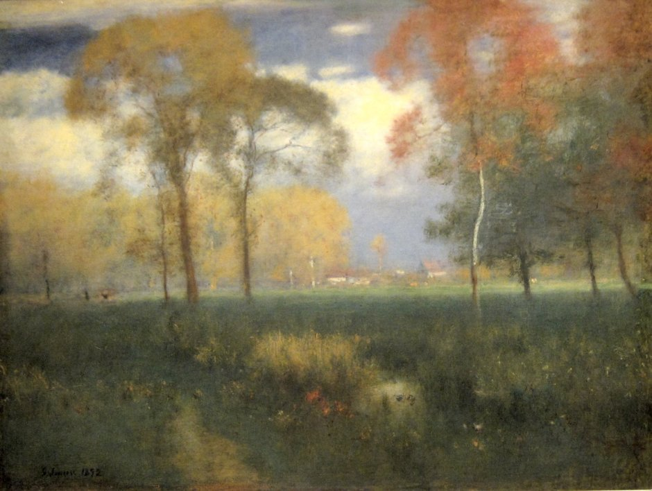 George Inness, Sunny Autumn Day (1892), oil on canvas, 81 x 106 cm, Cleveland Museum of Art, Cleveland, OH. By Wmpearl, via Wikimedia Commons.