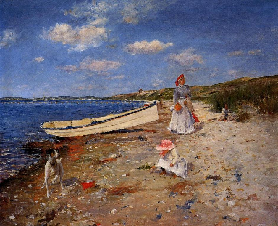 William Merritt Chase, A Sunny Day at Shinnecock Bay (1892), oil on canvas, 46.99 x 60.33 cm, Private collection. WikiArt.