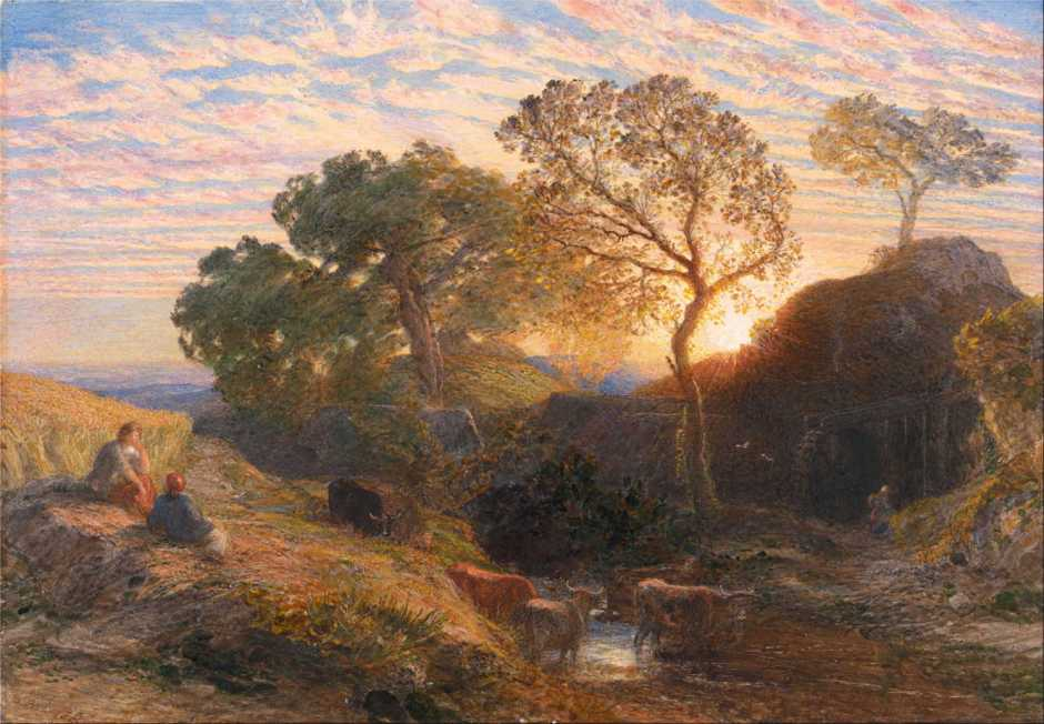 Samuel Palmer, Sunset (1861), watercolour, gouache, gum and graphite on paper, 27 x 38.7 cm, Yale Center for British Art, New Haven, CT. Wikimedia Commons.