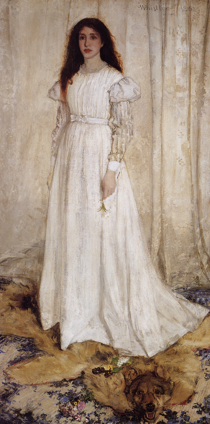 James Abbott McNeill Whistler, Symphony in White No. 1: The White Girl (1862), oil on canvas, 214.6 x 108 cm, National Gallery of Art, Washington, DC. WikiArt.