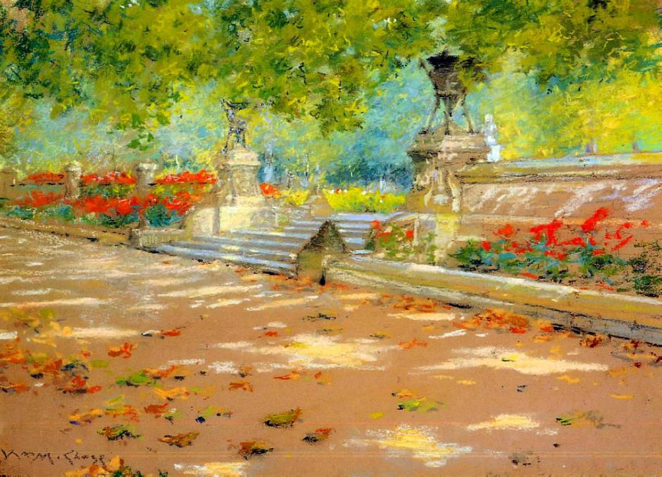 William Merritt Chase, Terrace, Prospect Park (c 1886), pastel on paper, 24 x 35 cm, Smithsonian American Art Museum, Washington, DC. WikiArt.