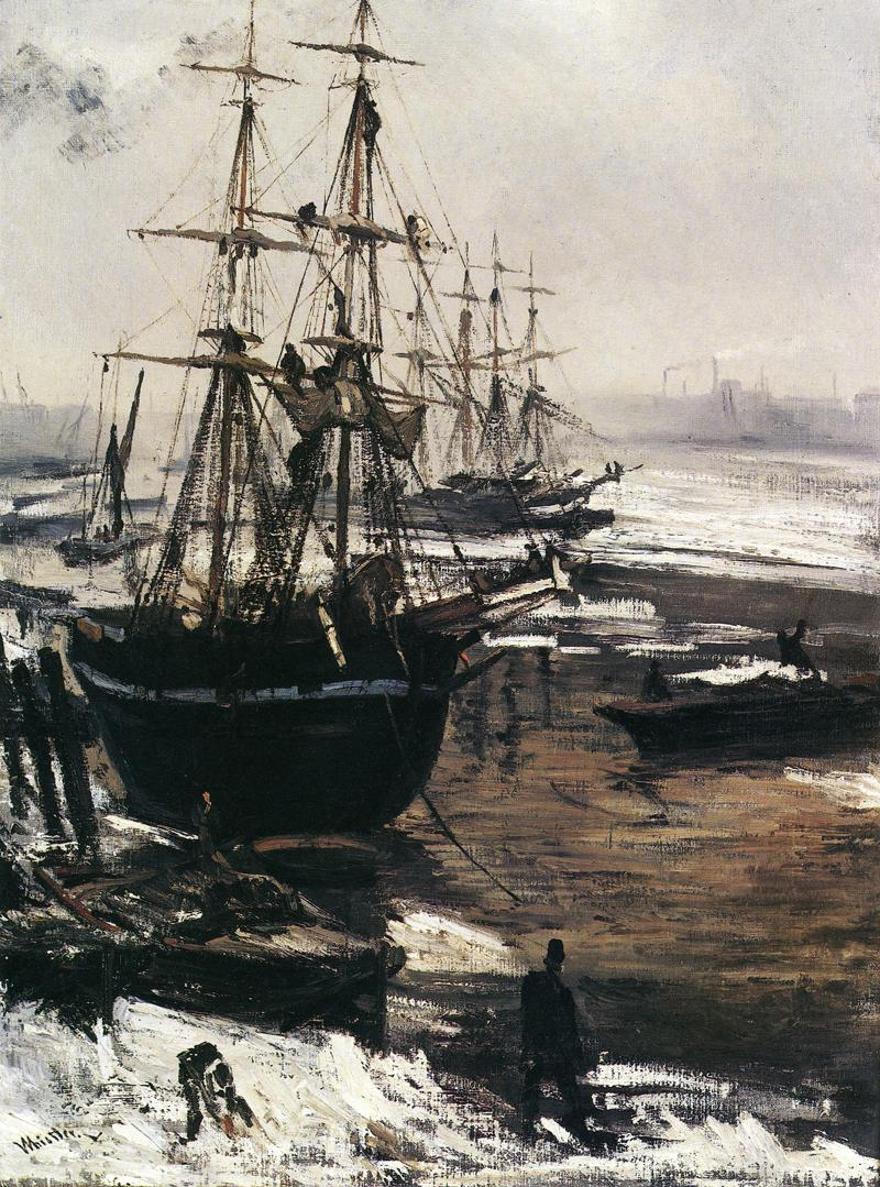 James Abbott McNeill Whistler, The Thames in Ice (1860), oil on canvas, 74.6 x 55.3 cm, Freer Gallery of Art, Smithsonian Institution, Washington, DC. WikiArt.