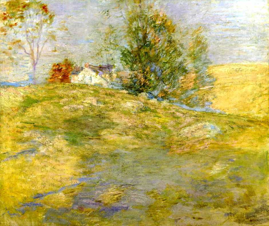 John Henry Twachtman, The Artist's Home in Autumn, Greenwich, Connecticut (1895), oil on canvas, 64.1 x 76.8 cm, Private collection. WikiArt.