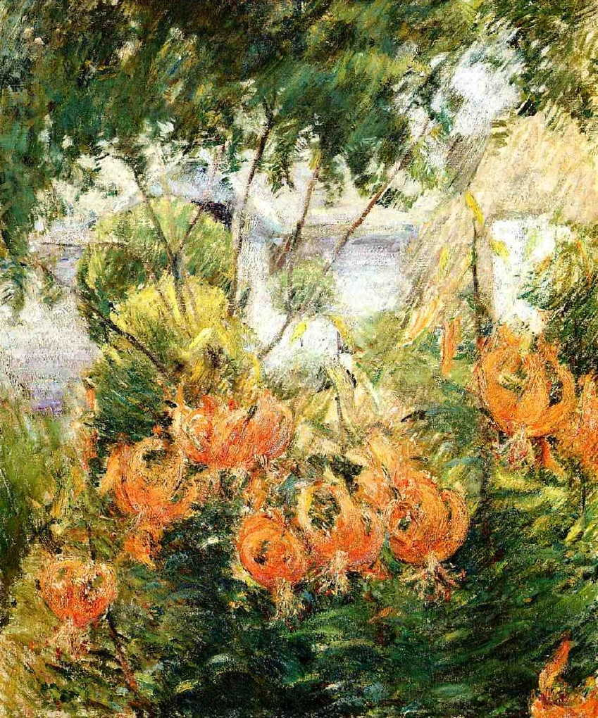 John Henry Twachtman, Tiger Lilies (c 1896-9), oil on canvas, 76.2 x 63.5 cm, Private collection. WikiArt.