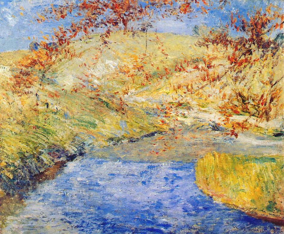John Henry Twachtman, The Winding Brook (1887-1900), oil on canvas, 63.5 x 76.5 cm, Akron Art Museum, Akron, OH. WikiArt.