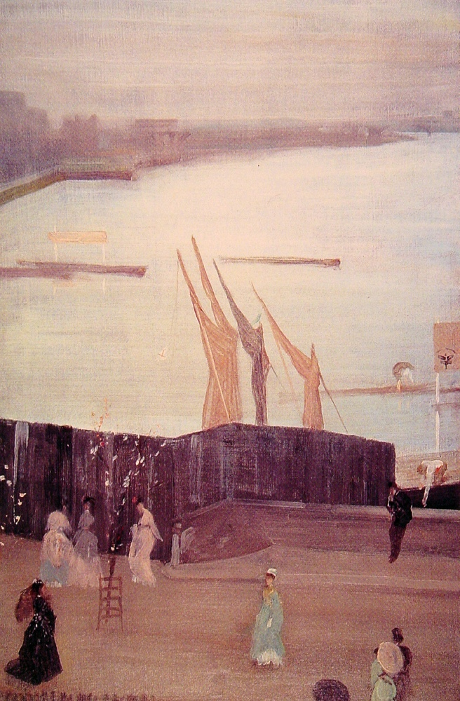 James Abbott McNeill Whistler, Variations in Pink and Grey: Chelsea (1871-2), oil on canvas, 62.7 x 40.5 cm, Freer Gallery of Art, Smithsonian Institution, Washington, DC. WikiArt.