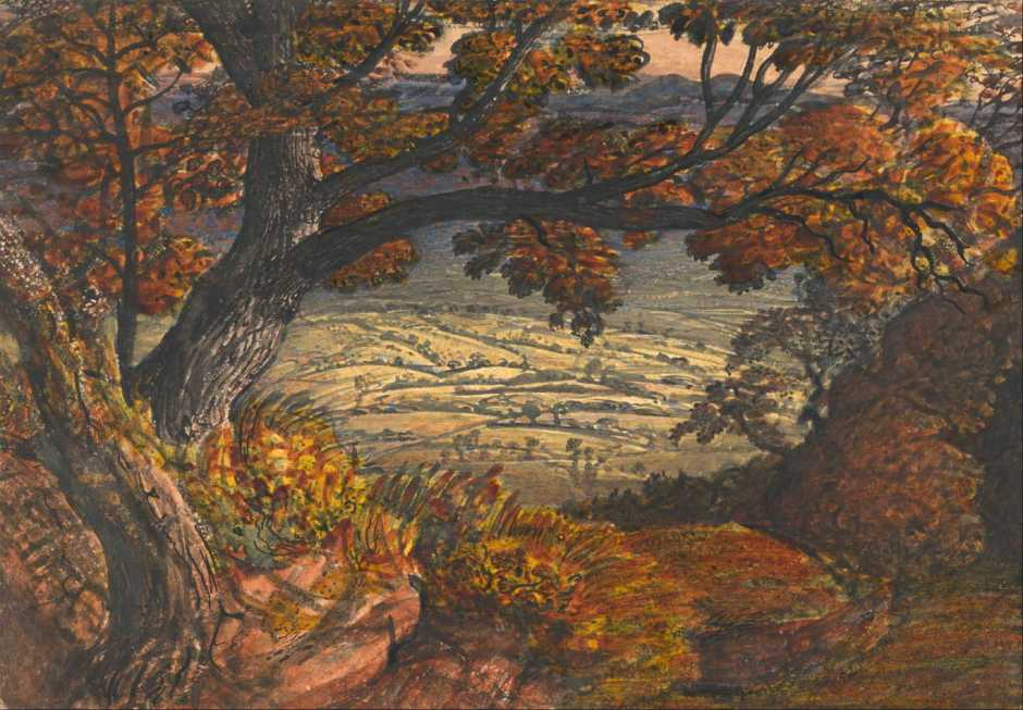 Samuel Palmer, The Weald of Kent (c 1833-4), watercolour and body-colour, 18.7 x 27.1 cm, Yale Center for British Art, New Haven, CT. Wikimedia Commons.