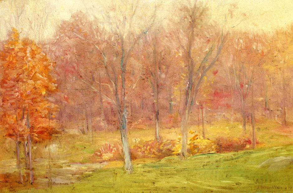 Julian Alden Weir, Autumn Rain (1890), oil on canvas, 40.64 x 61.6 cm, Private collection. WikiArt.