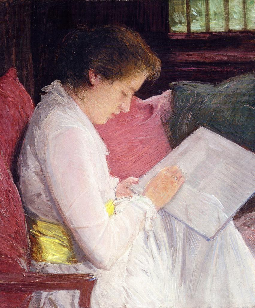 Julian Alden Weir, The Lace Maker (1915), oil on canvas, 77.5 x 64.8 cm, Private collection. WikiArt.