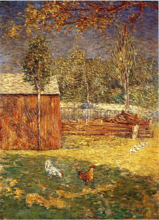 Julian Alden Weir, Midday (1891), oil on canvas, 86.4 x 62.2 cm, Private collection. WikiArt.