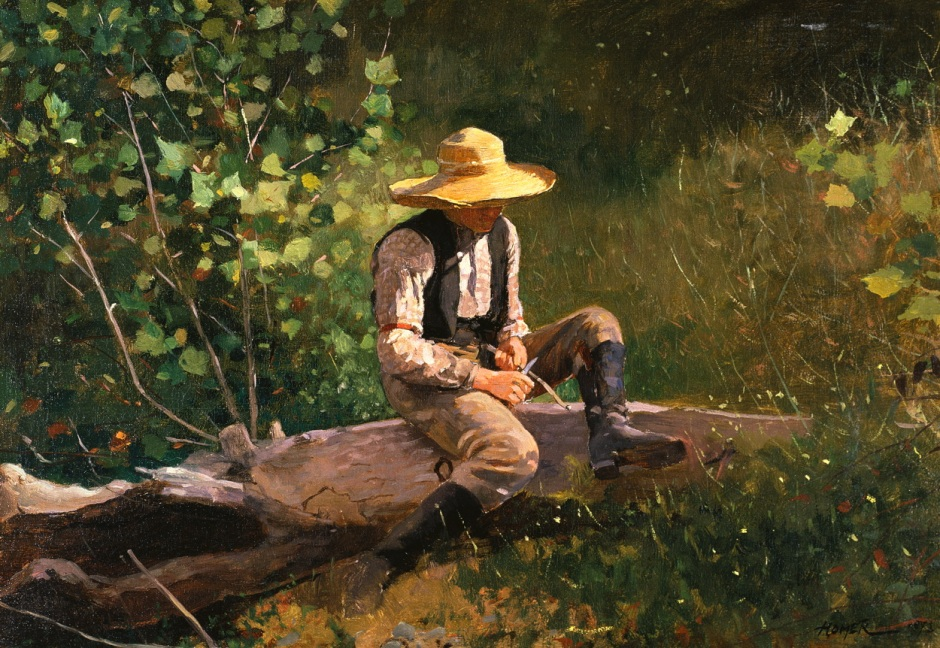 Winslow Homer, The Whittling Boy (1873), oil on canvas, 40 x 57.6 cm, The Terra Museum of American Art, Chicago, IL. Wikimedia Commons.