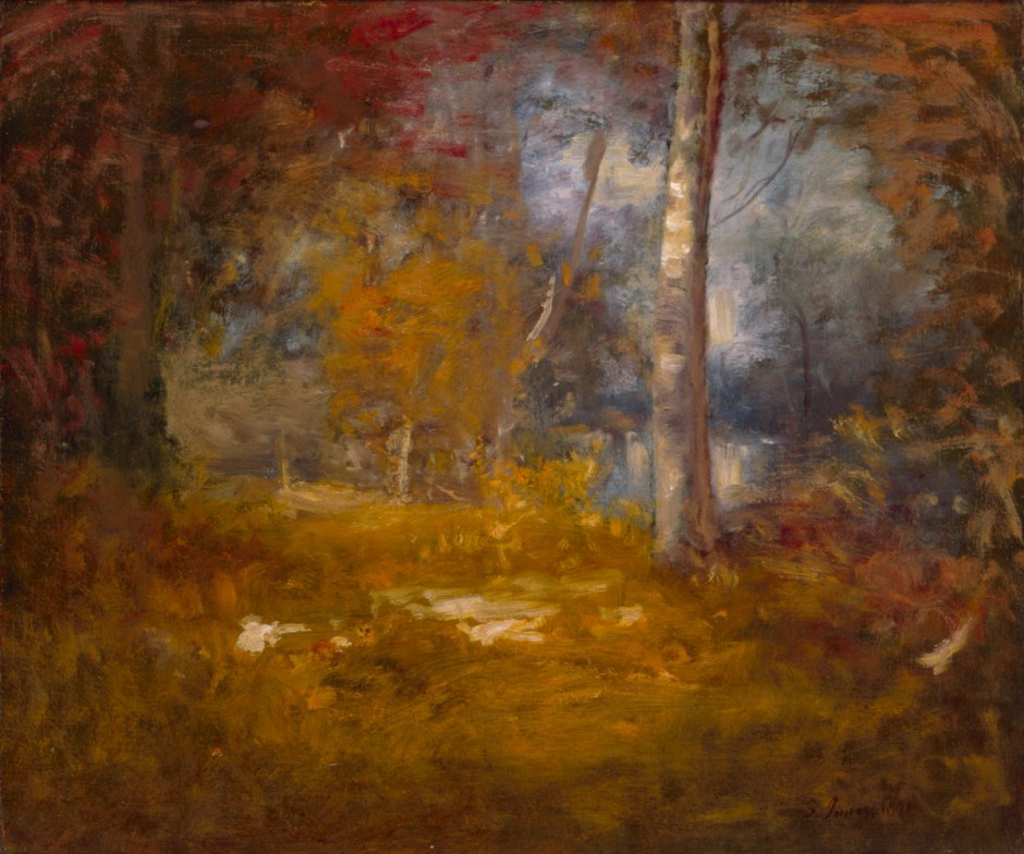 George Inness, Woodland Pool (1891), oil on canvas, 63.7 x 76.4 cm, The White House Collection, Washington, DC. Wikimedia Commons.