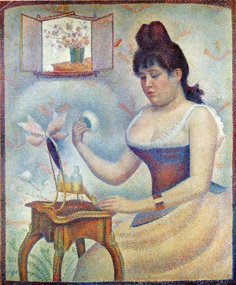 Georges Seurat, Young Woman Powdering Herself (1889-90), oil on canvas, 95.5 x 79.5 cm, Courtauld Institute Galleries, London. WikiArt.