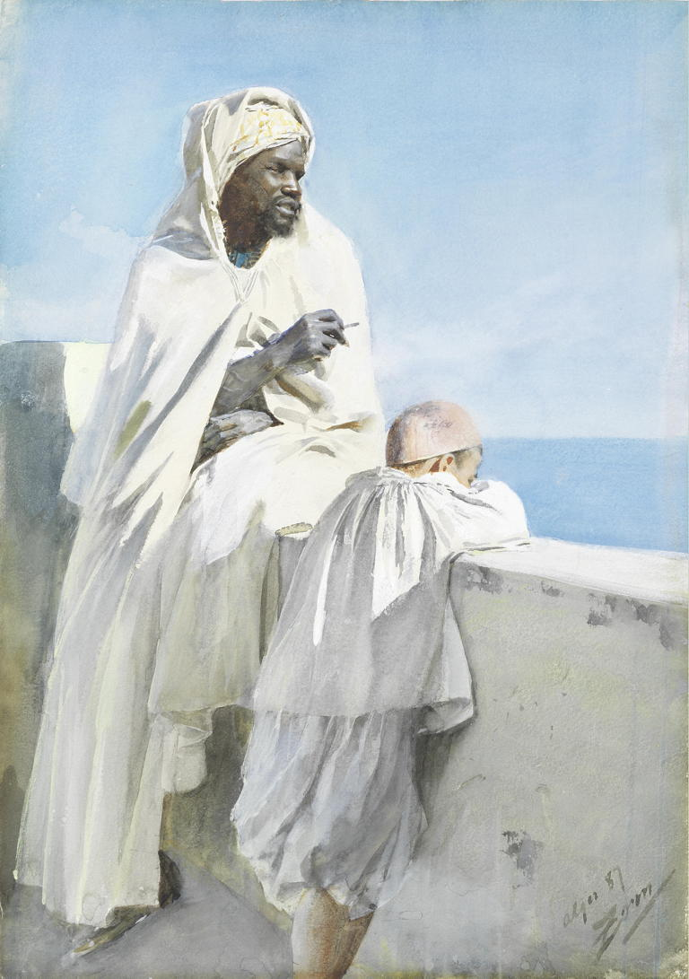 Anders Zorn, Man and Boy in Algiers (1887), watercolour, 48.7 x 34.7 cm, Private collection. Wikimedia Commons.