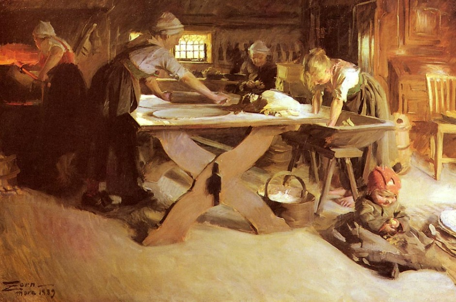 Anders Zorn, Baking Bread (1889), oil on canvas, dimensions not known, Private collection. WikiArt.