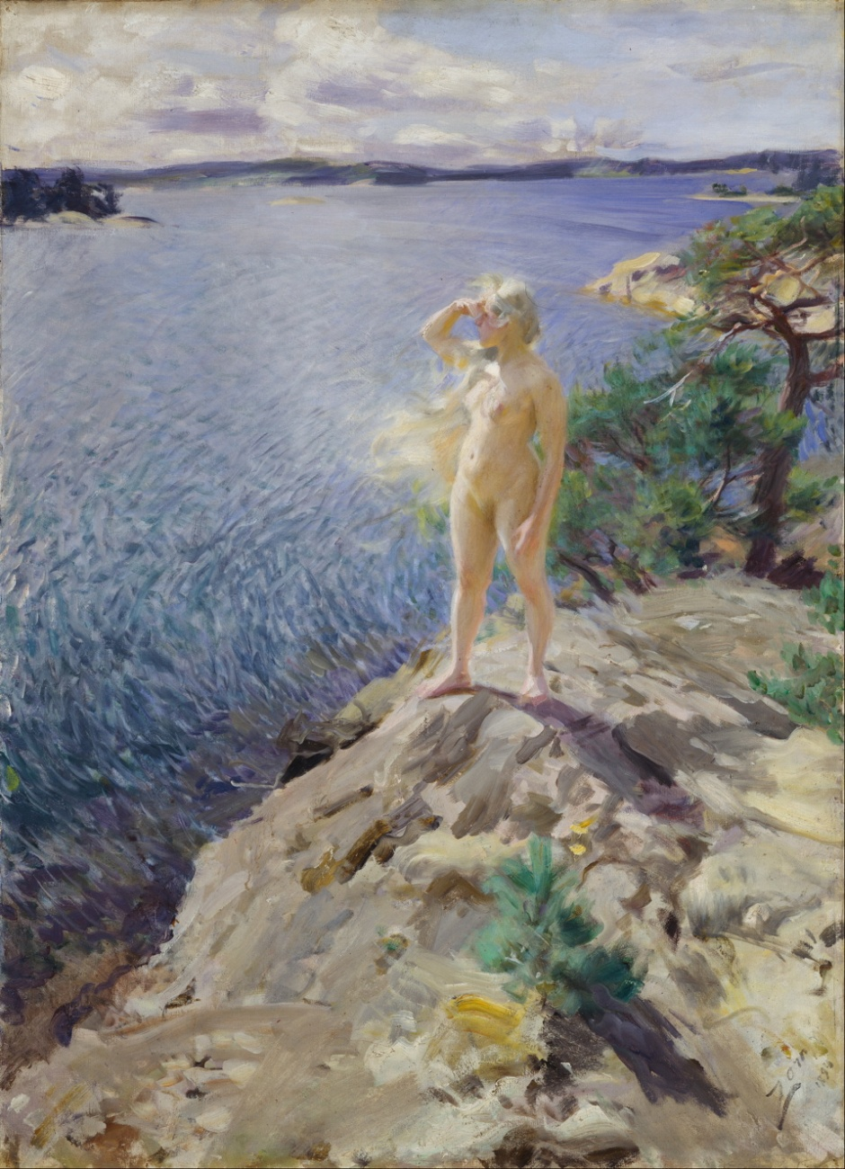 Anders Zorn, In the Skerries (1894), oil on canvas, 125.5 x 90.5 cm, Nationalgalleriet, Oslo. Wikimedia Commons.