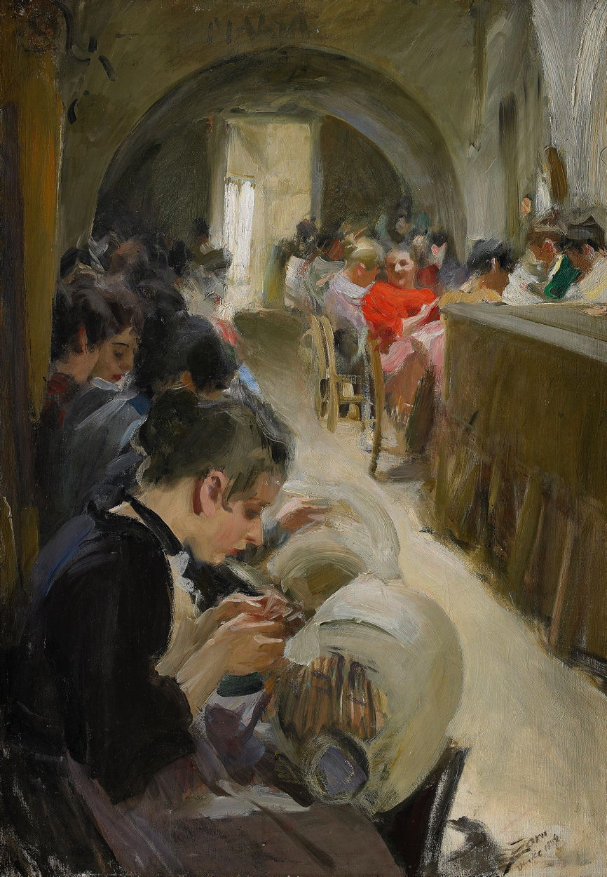 Anders Zorn, The Lace Makers (1894), oil on canvas, 92 x 65 cm, Private collection. Wikimedia Commons.