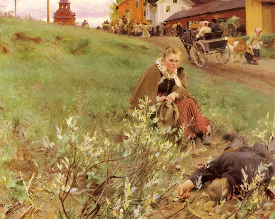 Anders Zorn, Mora Fair (1892), oil on canvas, 133 x 167.5 cm, Private collection. WikiArt.