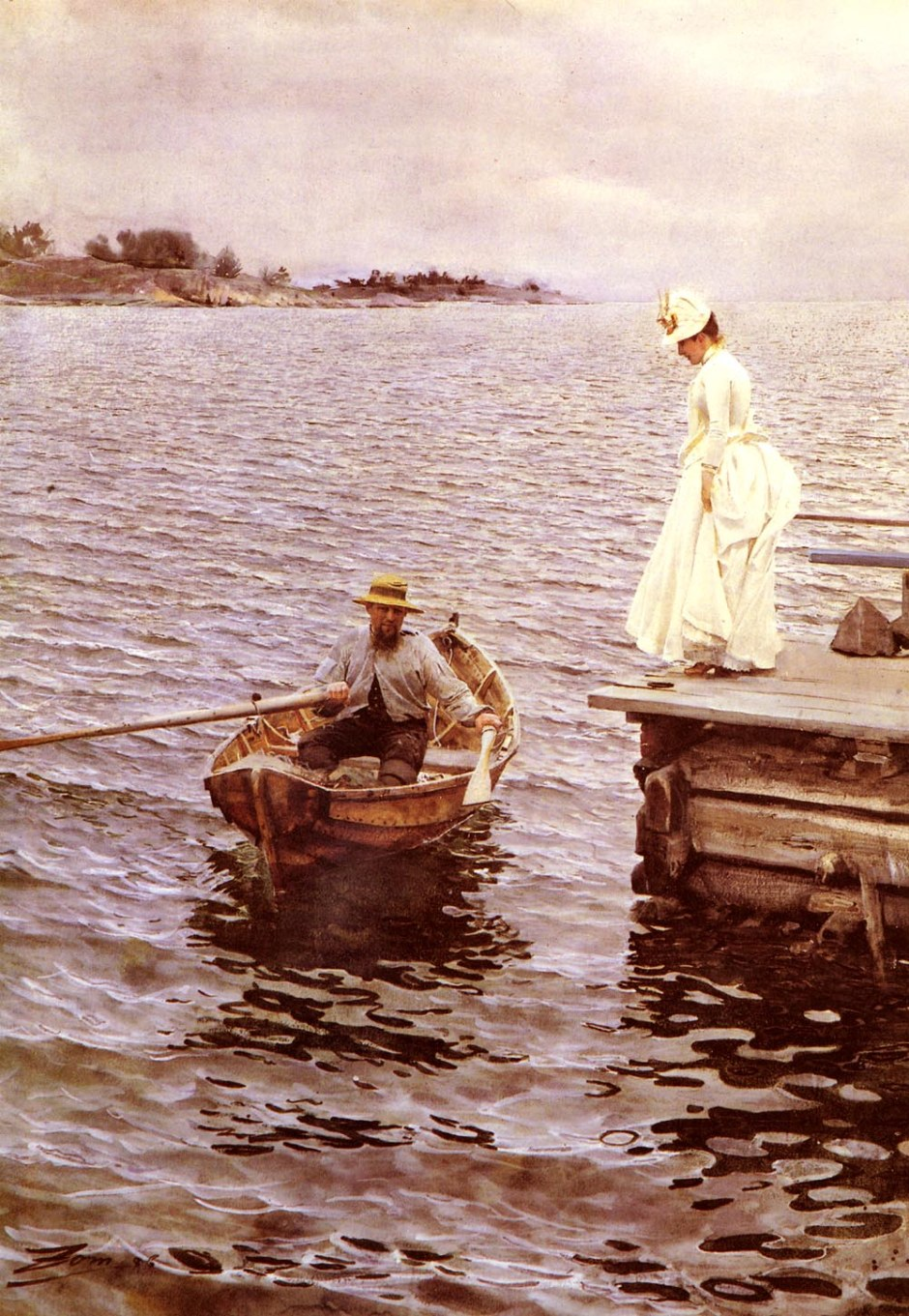 Anders Zorn, Summer Vacation (1886), watercolour, 76 x 56 cm, Private collection. WikiArt.