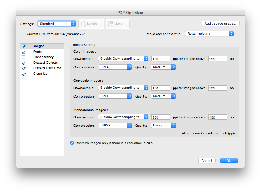 Compression options in Adobe Acrobat 'Pro' 2015 'DC'.