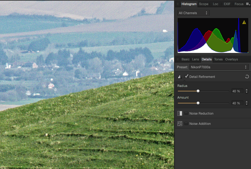 Affinity Photo: adjust Details settings for the image.