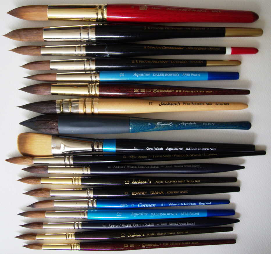 All the brushes assessed in the first batch of tests.