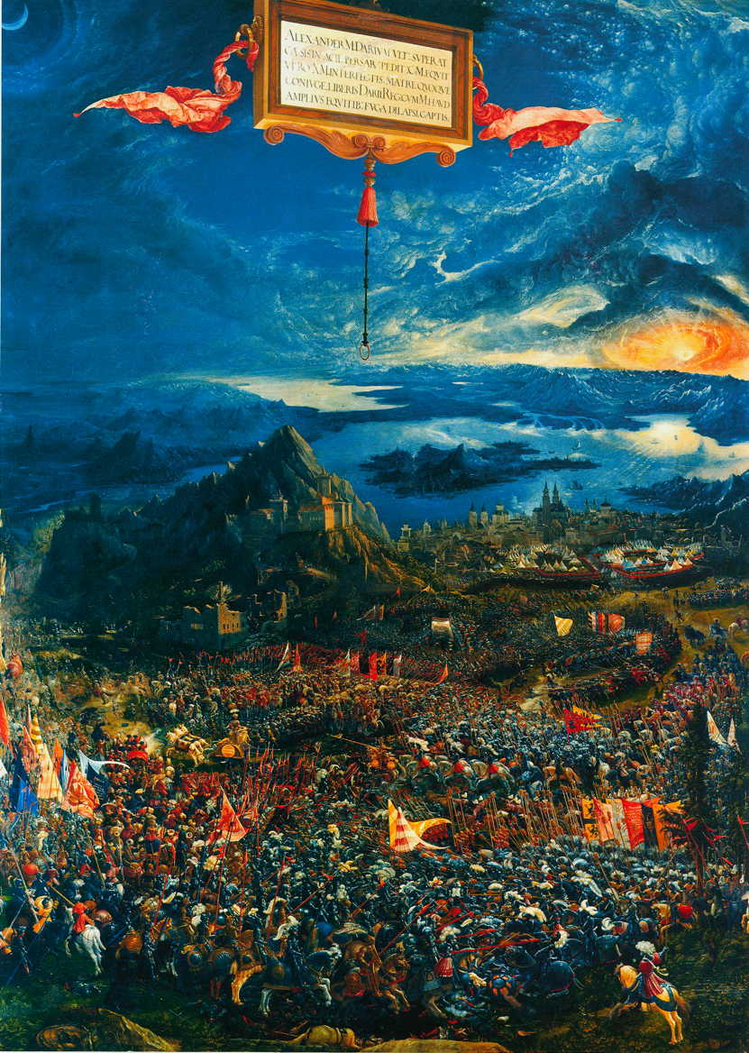 Albrecht Altdorfer, Battle of Issus (1529), oil on lime, 158.4 x 120.3 cm, Alte Pinakothek, Munich. Wikimedia Commons.