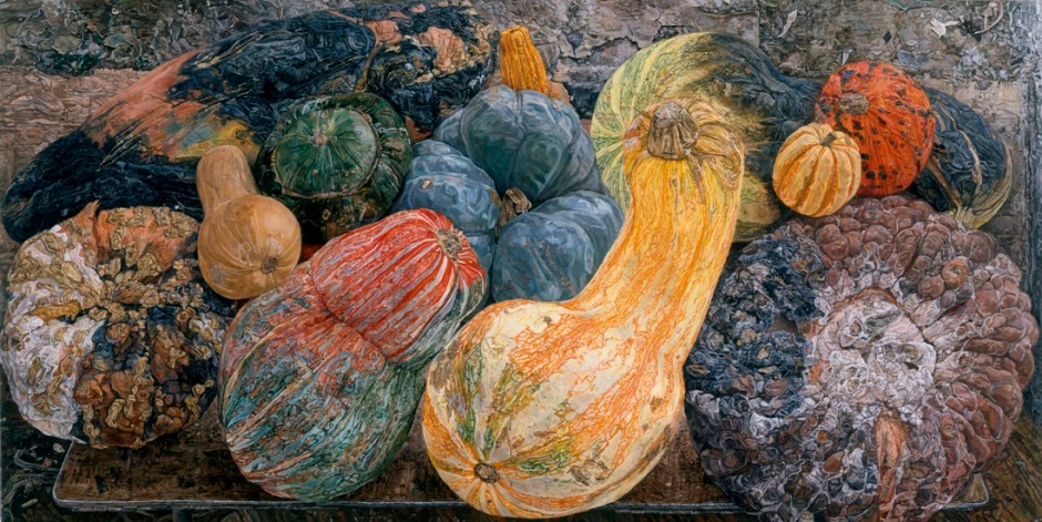 Ellen Altfest, Gourds (2006-07), oil on canvas, 48.3 x 96.5 cm, Private Collection. Photo: Bill Orcutt, New York. Image courtesy White Cube © Ellen Altfest / White Cube.