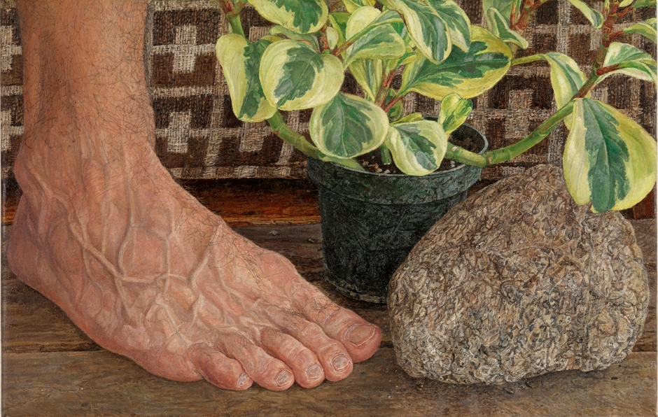 Ellen Altfest, Rock, Foot, Plant (2009), oil on canvas, 22.9 x 35.6 cm, ONE2 Collection, USA. Photo: Todd-White Art Photography. Image courtesy White Cube © Ellen Altfest / White Cube.