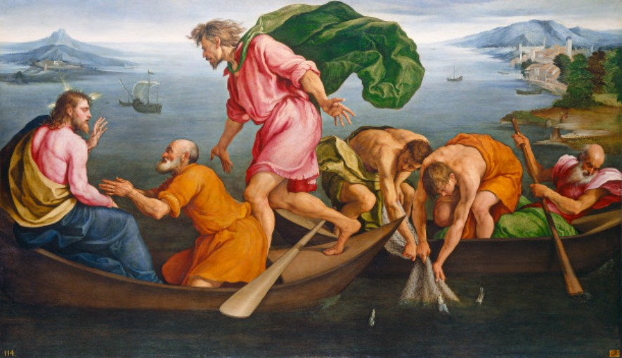 Jacopo Bassano, The Miraculous Draught of Fishes (1545), oil on canvas, 143.5 x 243.7 cm, National Gallery of Art, Washington DC. WikiArt.